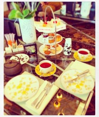 Setting of our Afternoon tea table at the Grand Hotel du Lac in Vevey.