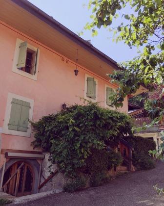 Façade d'une maison à Gryon de couleur rose avec volet vert