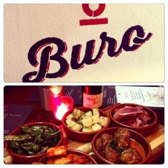 Photos du logo du bar a tapas O Buro et de différents plats de tapas sur une table