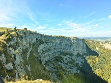 View of the Creux du Van canyon from the plateau
