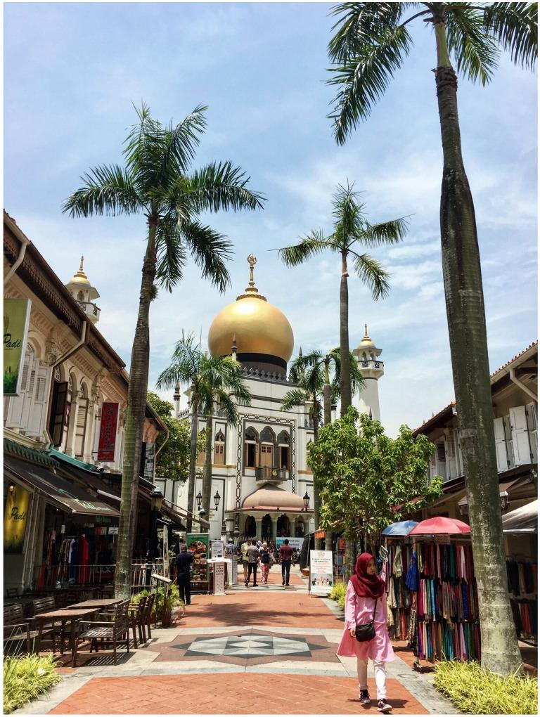View of the Mosque of Arab street in Singapore surrounded by palm trees