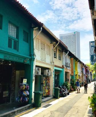 View of Haji Lane coloured houses