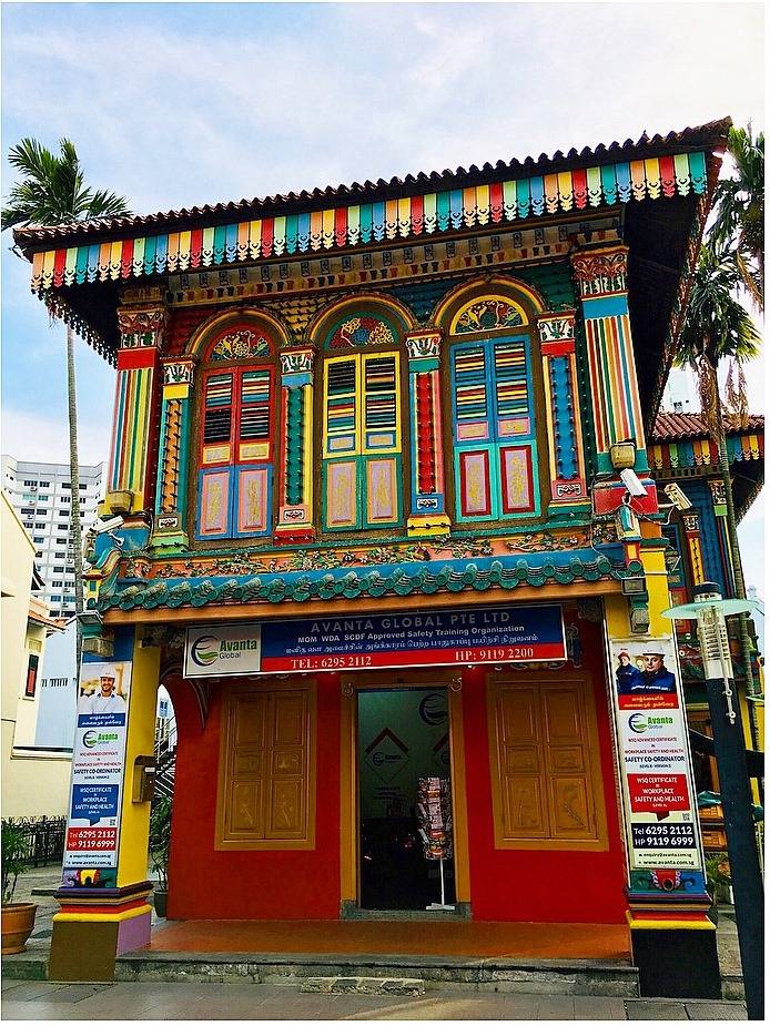 Multicoloured traditional house in Little India, Singapore