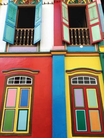Close-up of multicoloured house in Little India, Singapore