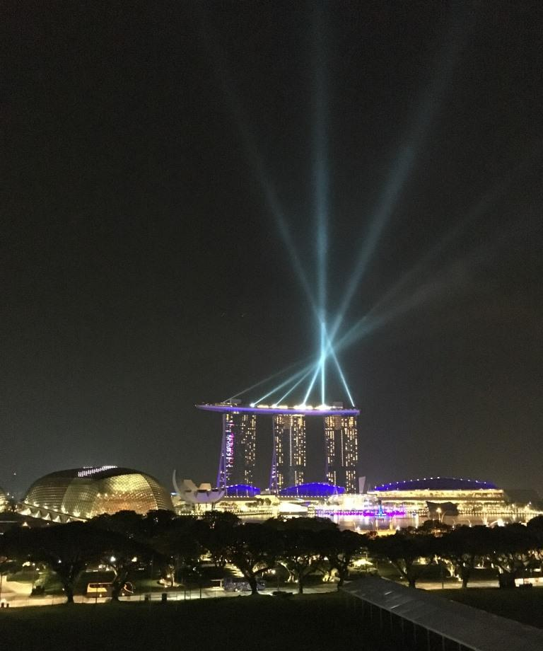 View of the Marina Bay Sands hotel by night