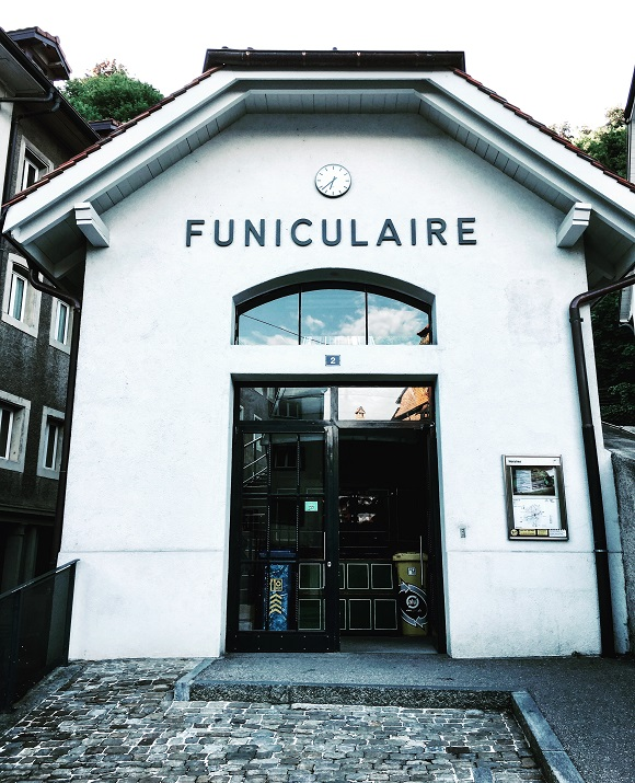 White façade of Fribourg's funicular entrance hall