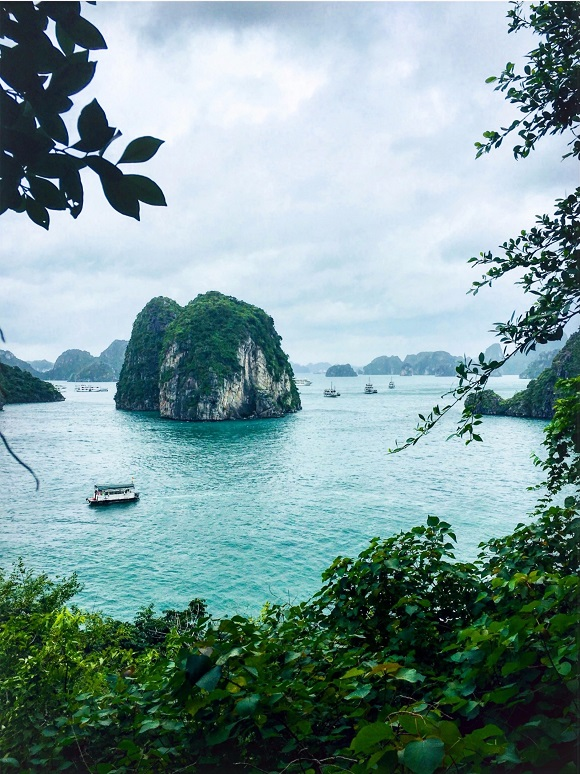 View of the Halong bay as sneakpeeking through trees