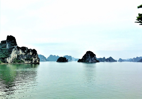 View of Halong Bay's dark green water and limestones
