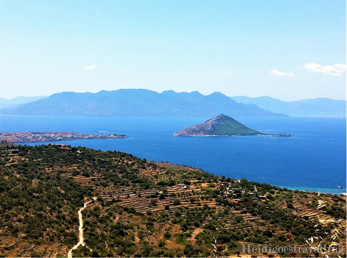 View of the island of Aegina from the top of a mountain