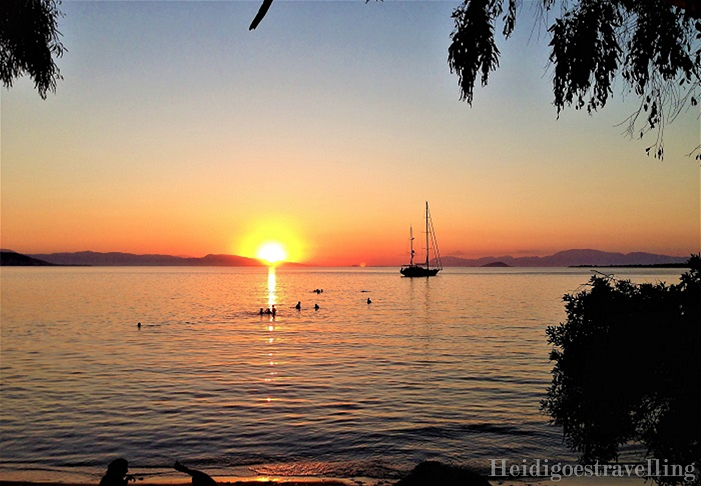 Sunset on from a beach in Aegina