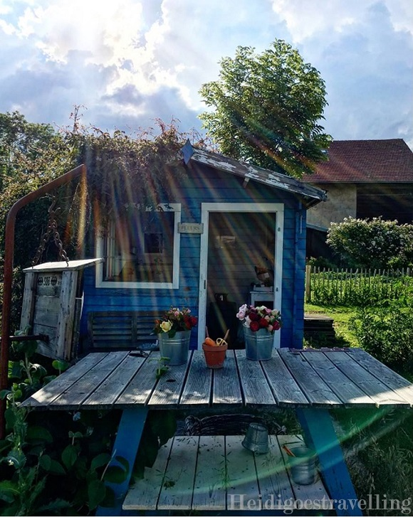 Photo d'un cabanon en bois bleu et blanc devant lequel il y a un établi de fleuriste en bois sur lequel sont posés deux bouquets de fleurs colorés.