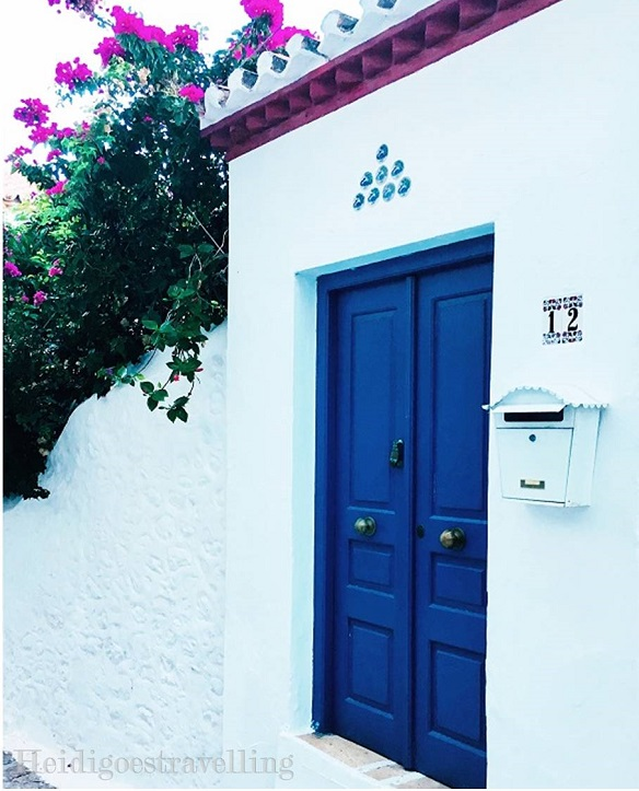 Picture of dark blue double-sided door and hot pink bougainvillea surrounded by white painted wall
