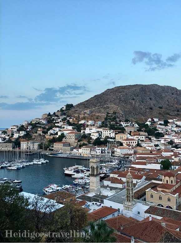 View of Hydra town and harbour