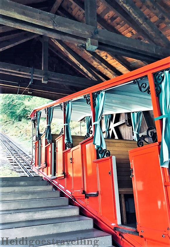 Historical red funicular of the Grand Hotel Giessbach
