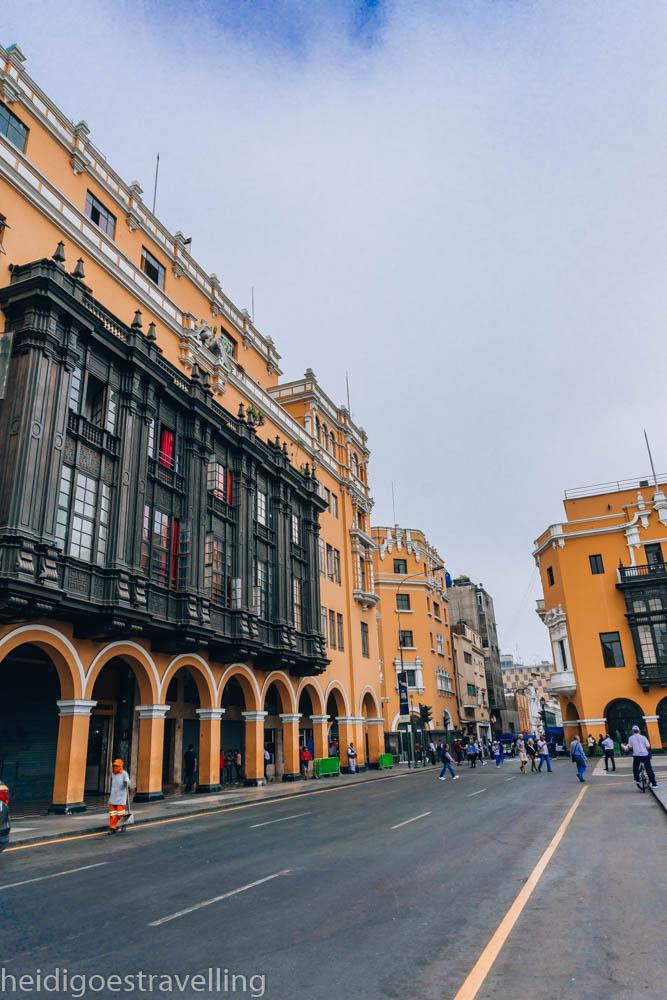 Mustard-coloured colonial building on Plaza de Armas, Lima