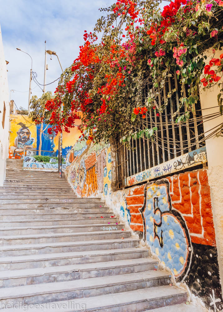 Art covered stairs and walls, towered over by a big bougainvillea