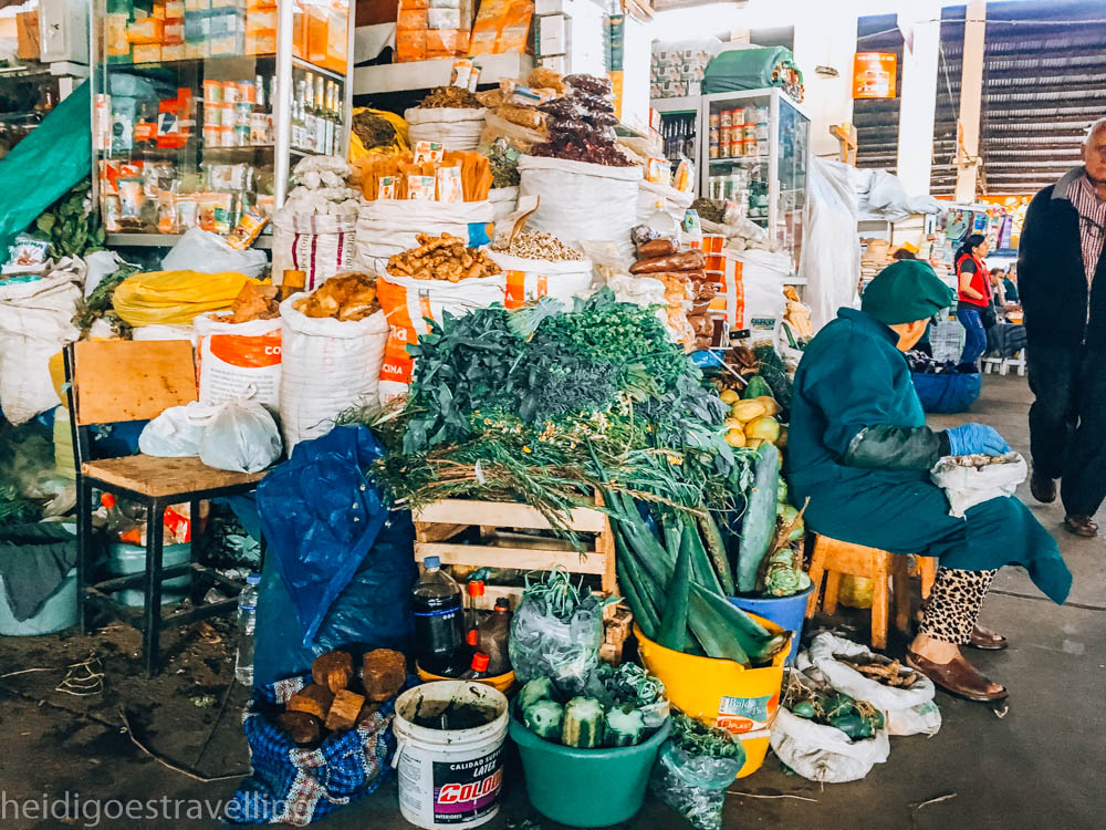 Market stall in the covered San Pedro Market in Cusco, selling vegetables