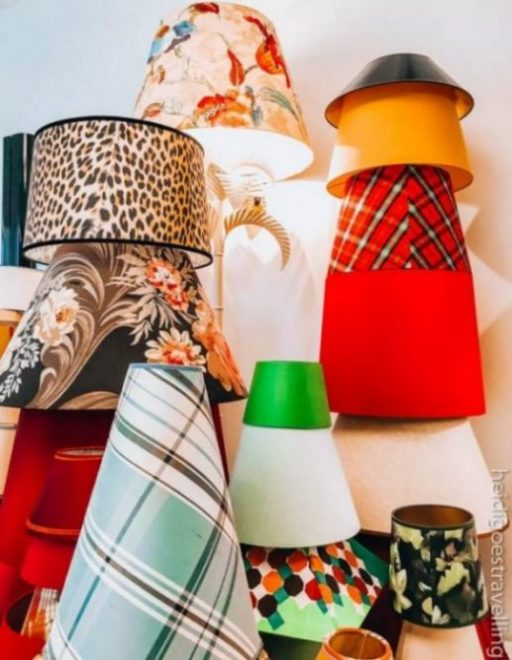 Lampshades in different sizes and colours