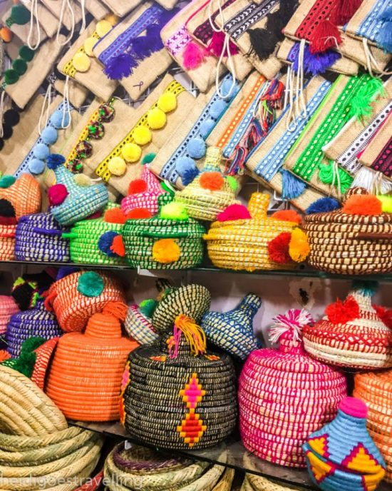 Neon-coloured clutch bags and baskets
