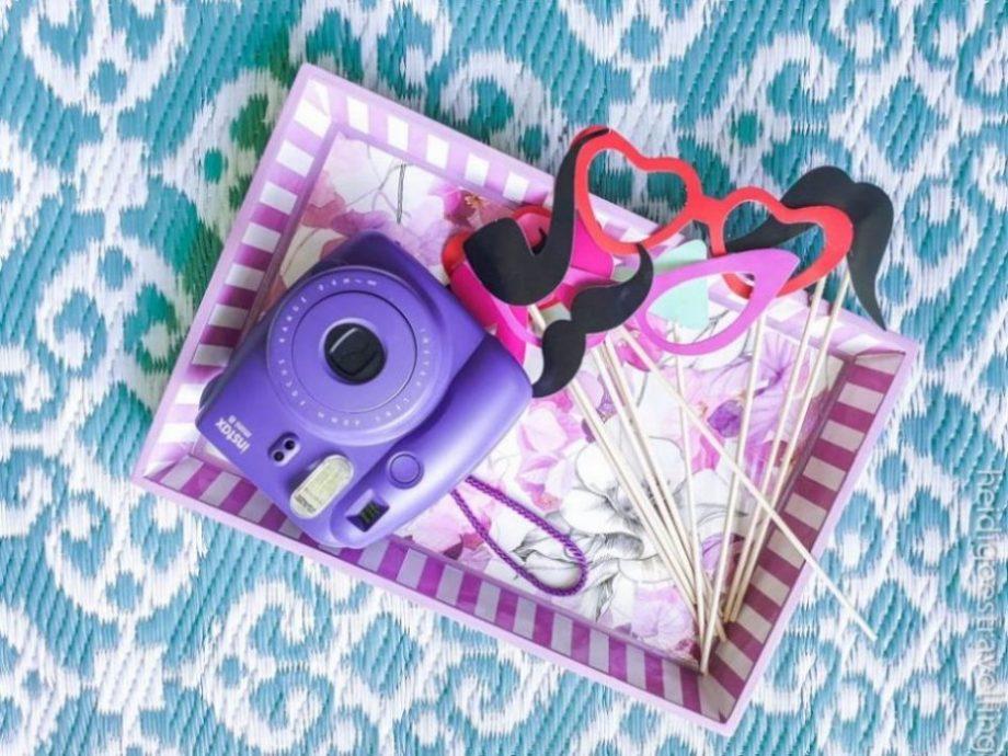 Purple Instax mini & photo props on purple and white tray