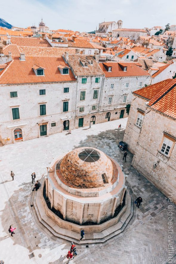 View from above of a round-shaped old fountain