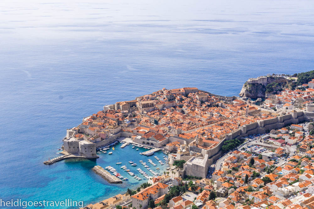 Panoramic view of Dubrovnik from the top of a mountain
