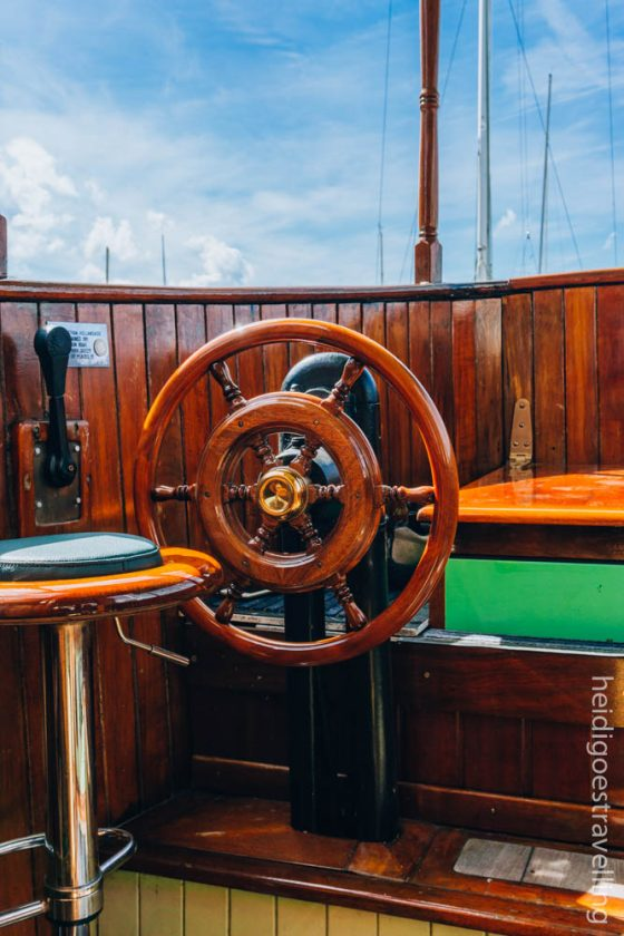 Picture of the helm of an old saloon boat