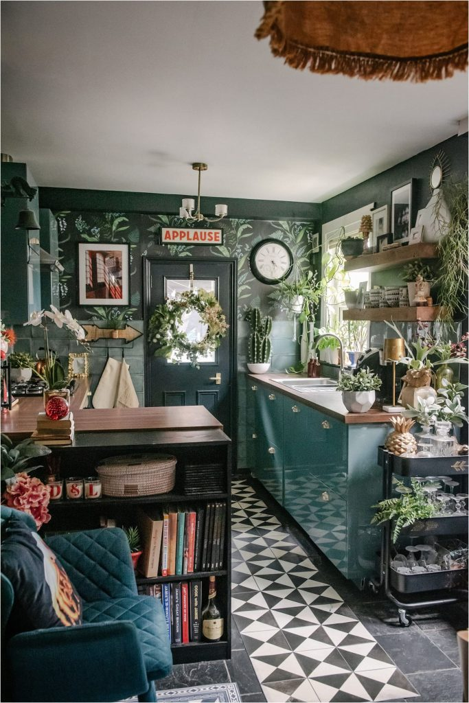Picture of a small teal blue kitchen