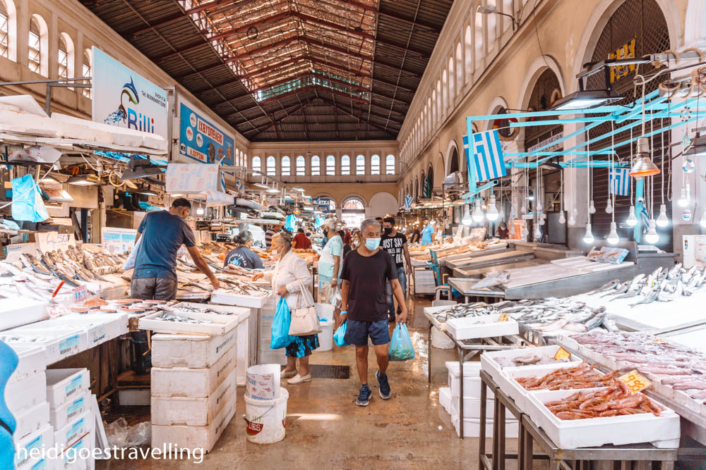 Picture of Athens Central Market's fish stalls